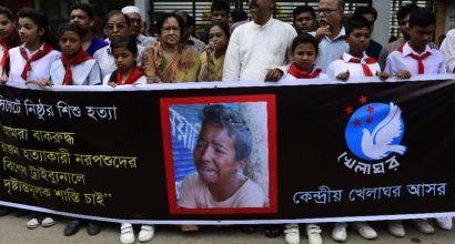 Bangladeshis in Dhaka protest against the lynching of 13-year-old Samiul Alam Rajon, on July 14, 2015 (AFP Photo/Munir Uz Zaman)