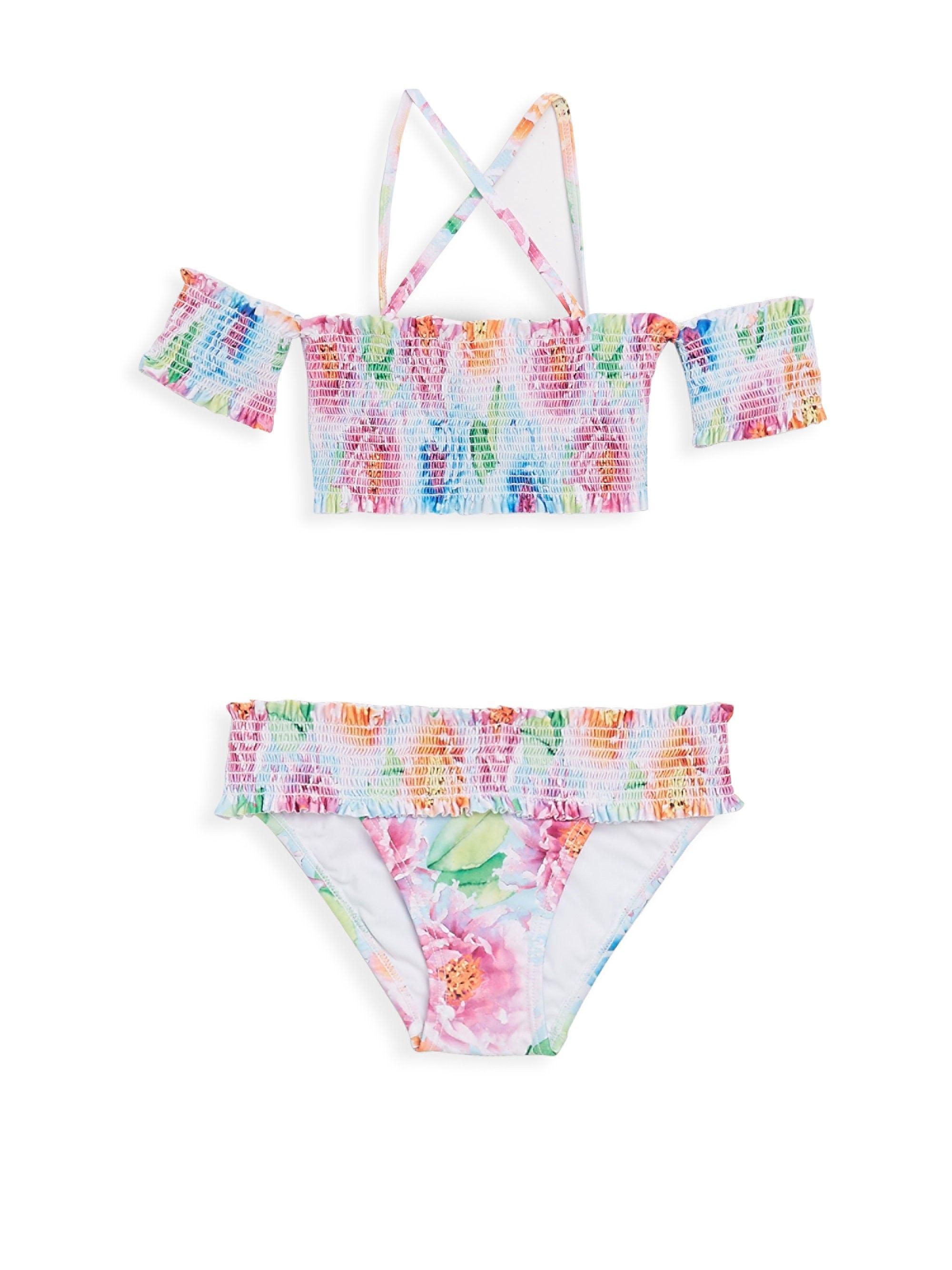 1868826b0f4d9 Little Girl s   Girl s Two-Piece Floral Smocked Bikini Top   Bottom ...