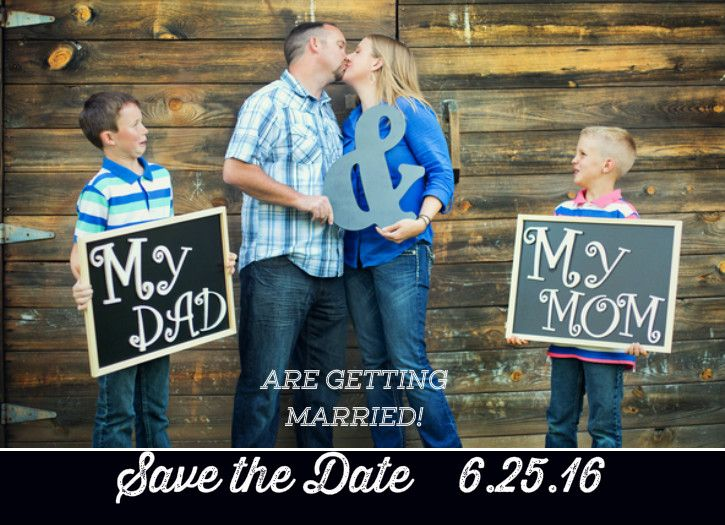 Blended Family Wedding Invitations: Save The Date With Kids