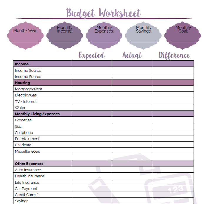 monthly budget spreadsheet cute