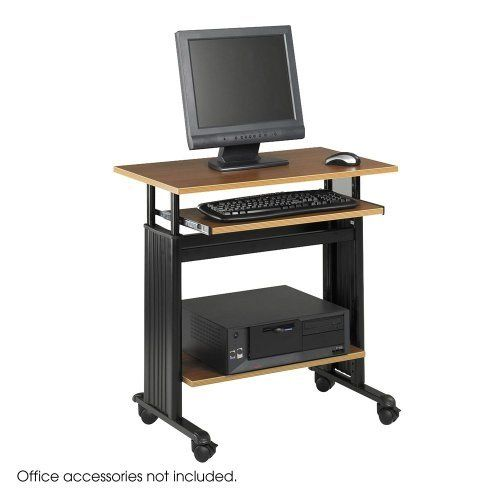 """NEW - 28"""" Wide Adjustable Height Workstation, 22d x 34h, Oak - 1925MO by Safco. $314.93. 13. Features ?step-less infinite adjustability? for increased personal comfort and productivity. Safety cap with cable management side covers. Includes tool for quick and easy assembly. Monitor and keyboard shelves adjust in 5"""" range, 29"""" to 34"""" high. 23-5/8"""" wide printer shelf adjusts in 1"""" increments. Color: Oak; Black; Overall Width: 29 1/2""""; Overall Depth: 22""""."""