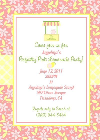 perfectly pink lemonade party invite would be fun for jadynns half birthday