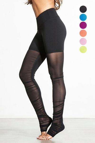 46ee7d9a5a314 Thigh High Gauze Patch Yoga Pants   Lupsona : Bottoms   Gym pants ...