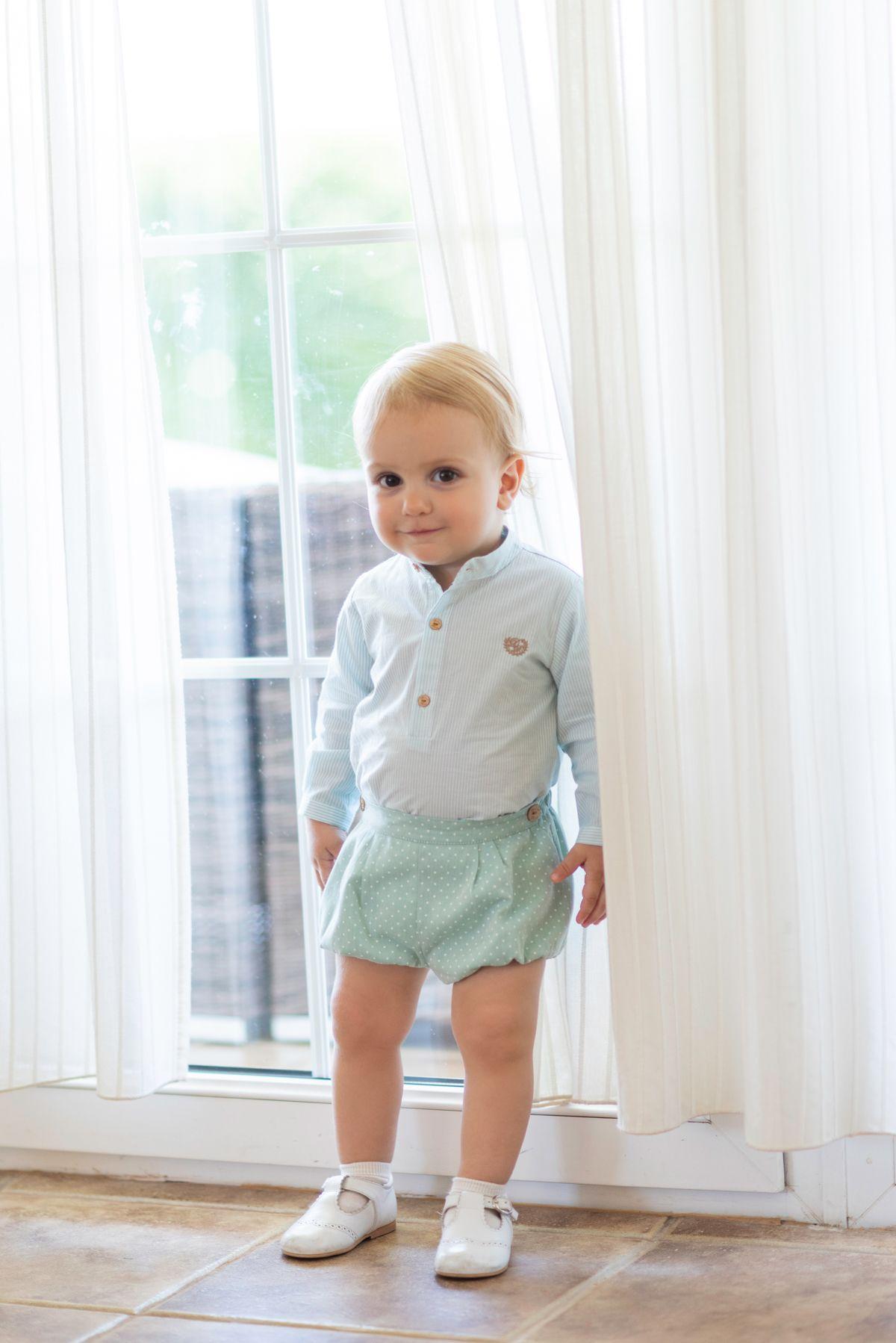 Conjunto para bebé niño de camisa en algodón estampado a rayas verde agua y  blanco eab21547083a