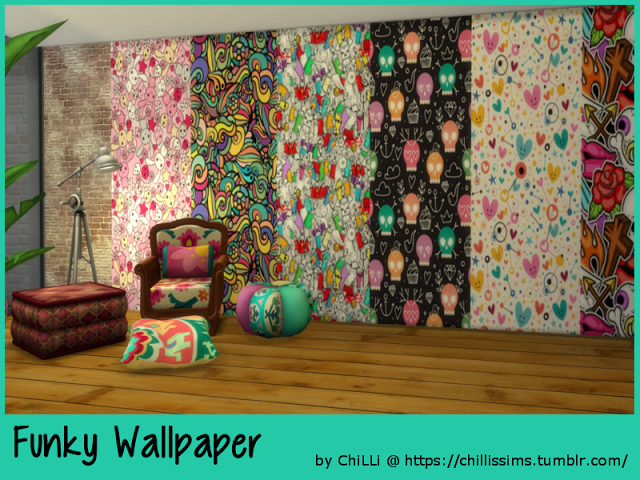 excellent funky wallpaper for house. Sims 4 CC s  The Best Funky Wallpaper by ChiLLis