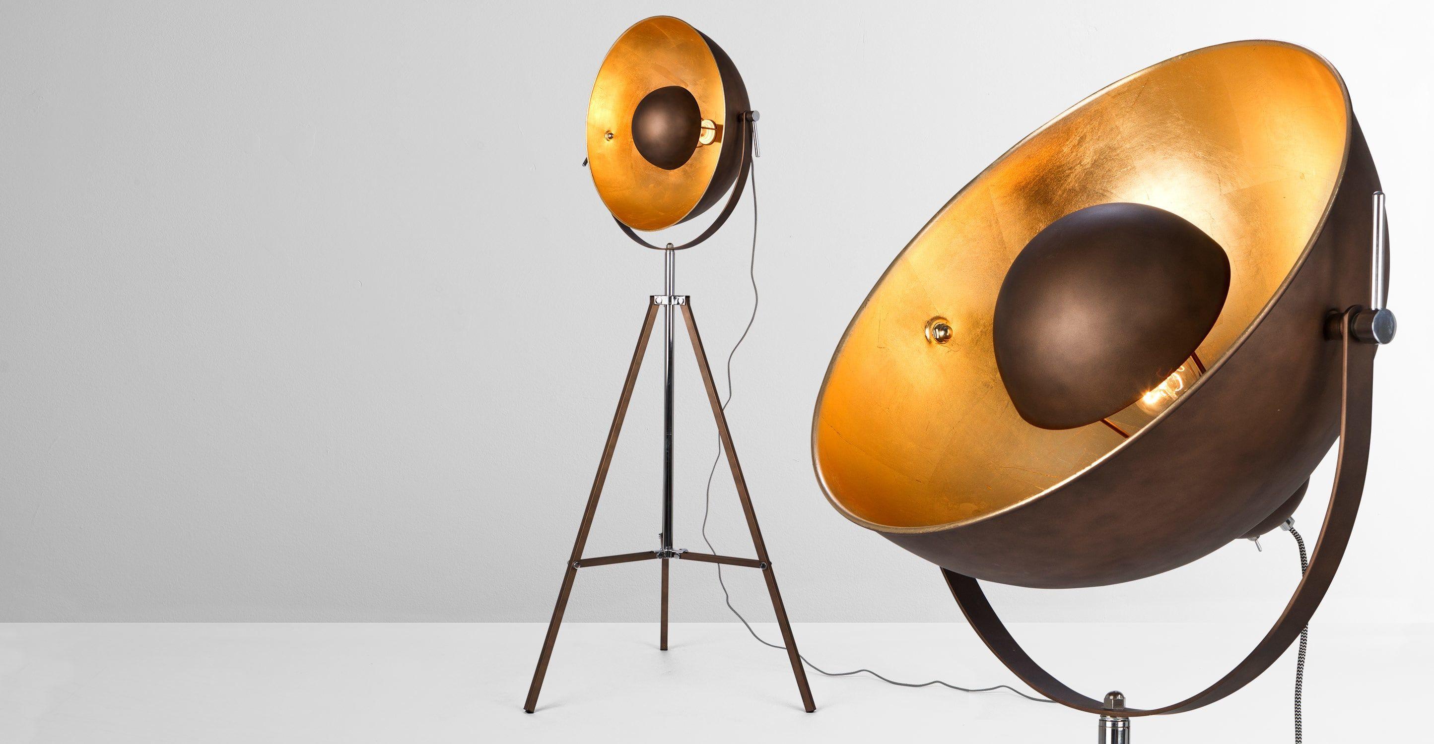Chicago Tripod Stehlampe Kupfer Und Gold Floor Lamp Gold Floor