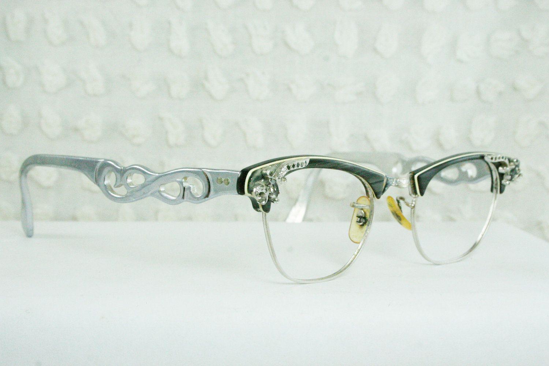 837f226a6c 50s Cat Eye Glasses 1960 s Rhinestone Eyeglasses Gray Pearl Browline Wire  Rim Hybrid 44 20 Optical Frame.  89.00