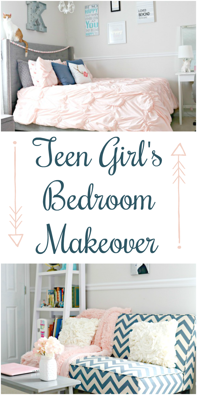 Teen Girl S Bedroom Makeover With Navy Blue Grey And