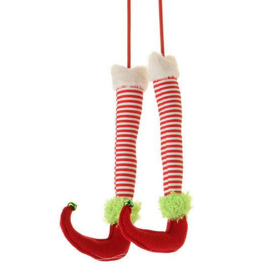 RAZ Inch Striped Elf Legs With Green Jingle Bells On The Tips Use To Decorate Your Wreath For A Hidden