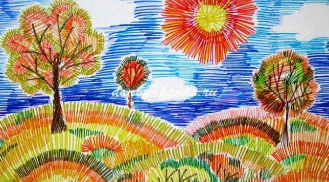 Осенний Пейзаж | Осеннее искусство, Осенний пейзаж и Рисунки