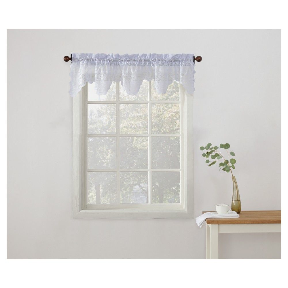 """Alison Sheer Lace Kitchen Curtain Valance Blue (14""""x58"""") - No. 918"""