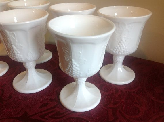 Set of Seven Colony Harvest Milk Glass Stemmed by Sylliestore, $25.00