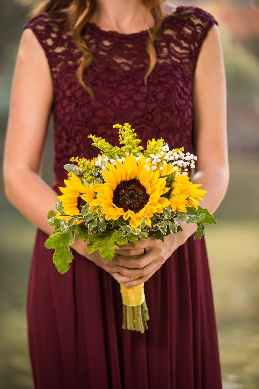 Sunflower bridesmaid bouquet maroon burgundy dress