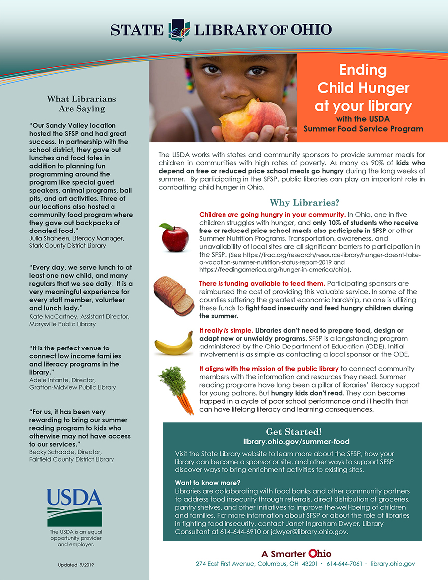 Summer Food Service Program State Library Of Ohio Summer Food Service Program Summer Recipes Food Service