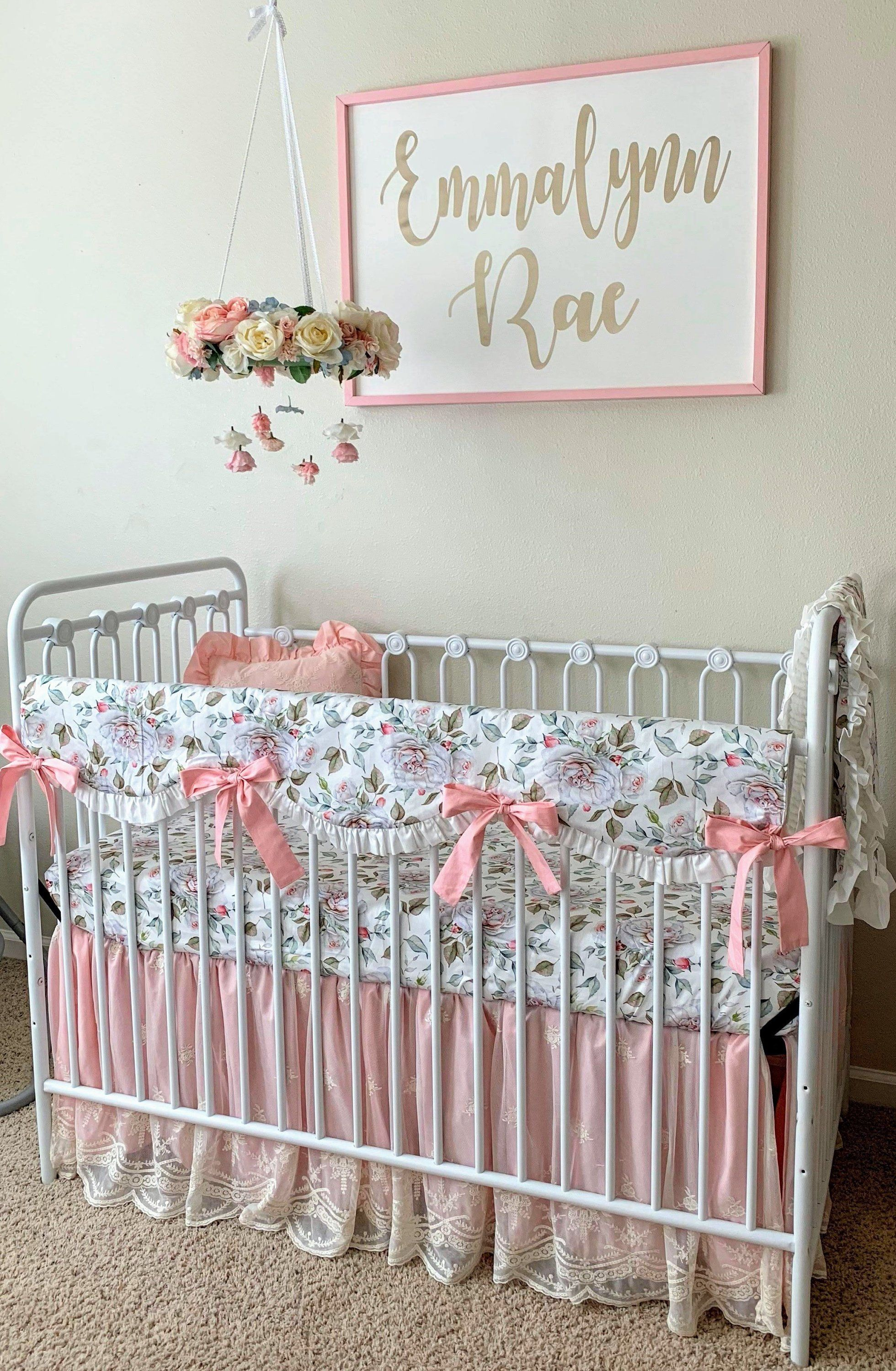 Farmhouse Peonies Blush Pink Baby Nursery Bedding Set With Images Floral Baby Bedding Baby Girl Crib Sets Baby Girl Crib Bedding
