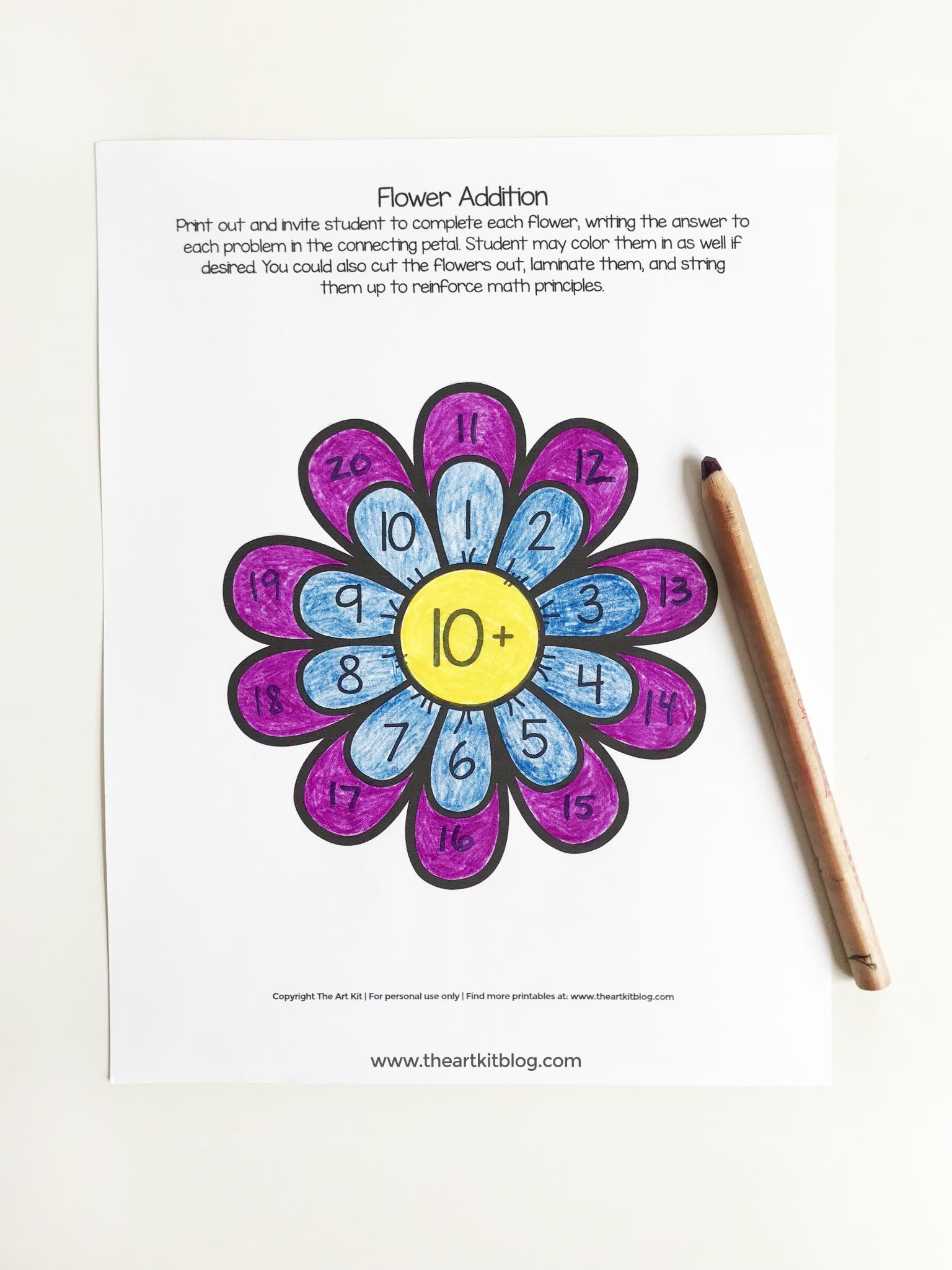 Addition Flowers Activity Sheets 0 To 10 Waldorf
