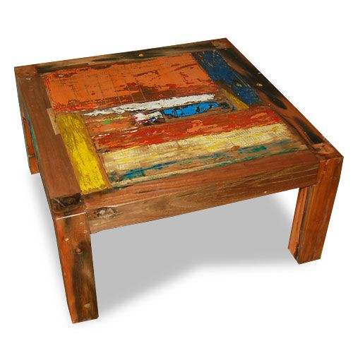 coffee table patchwork made from reclaimed boat timber. nautical