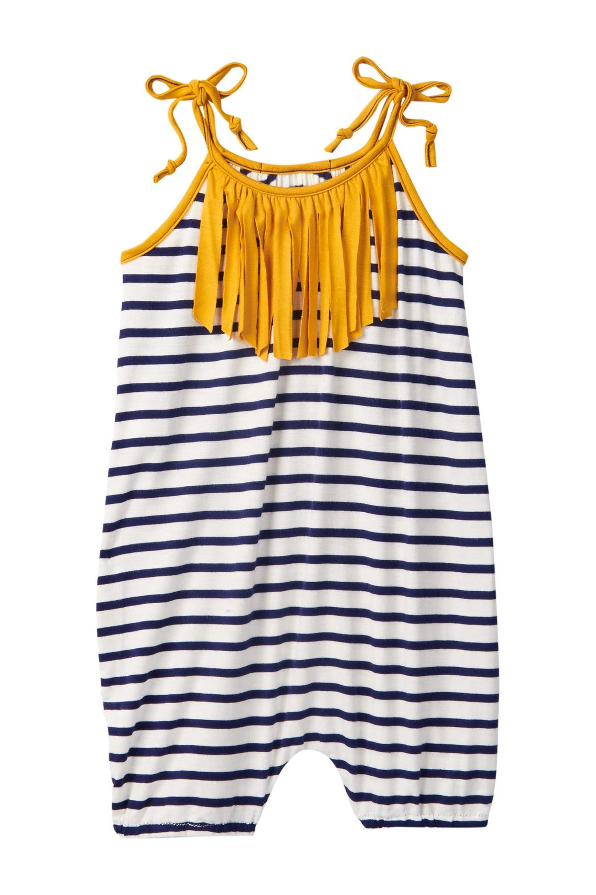 This Navy Striped & Mustard Fringe Bubble Romper is the perfect