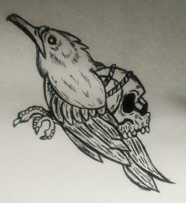 Crow drawing tattoo