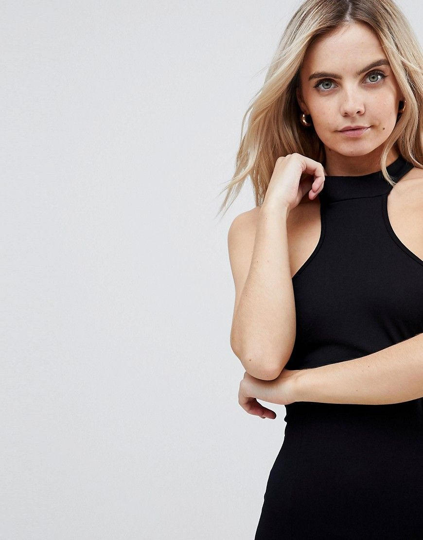 Choker Neck Mini Bodycon Dress with Splits - Black Asos Petite