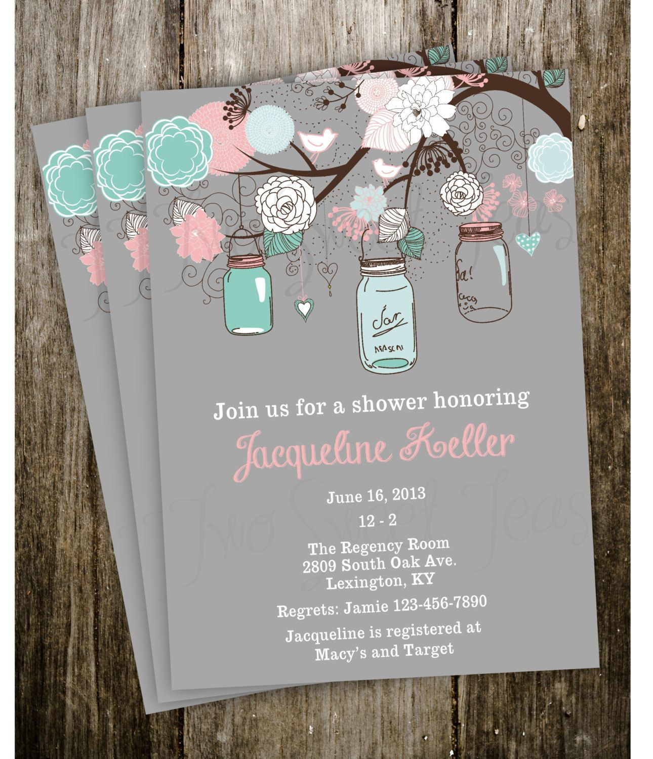 Vintage Shabby Chic French Country Mason Jar Shower Baby Bridal Wedding  Invitation Digital Printable. $15.00