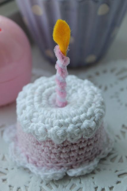 Crocheted Mini Birthday Cake with Candle FREE Crochet Pattern and