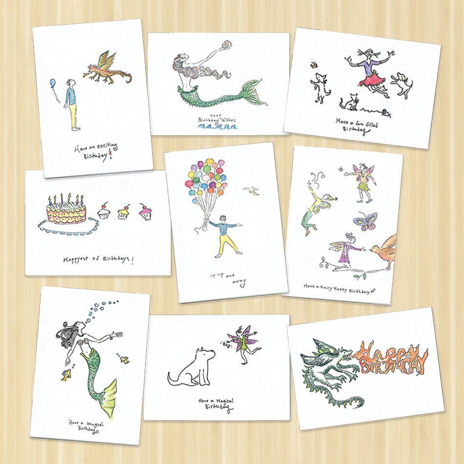 Happy Birthday Card Pack Of 9 Birthday Cards Greeting Card Etsy Birthday Cards Happy Birthday Cards Happy Birthday Dragon