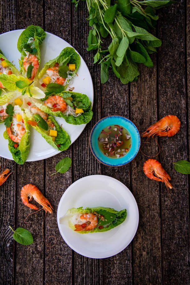 Prawn Lettuce Cups with Thai Dressing - inspired by a memorable argument and a honeymoon in Thailand