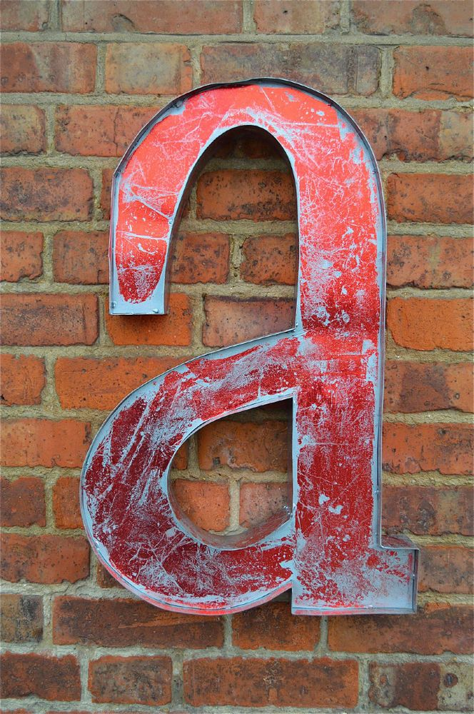 Large Vintage Style D Red A A Shop Sign Letter Tind Wall Art