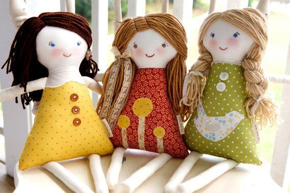 Personalizado Conjunto de 3 Rag Waldorf Dolls, personalizado, boneca de pano personalizado