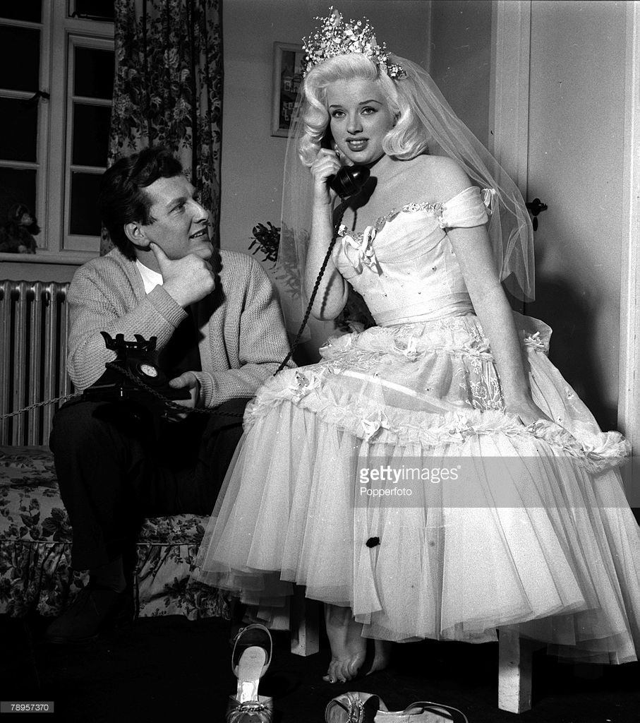 England British Actress Diana Dors Is Pictured With Her