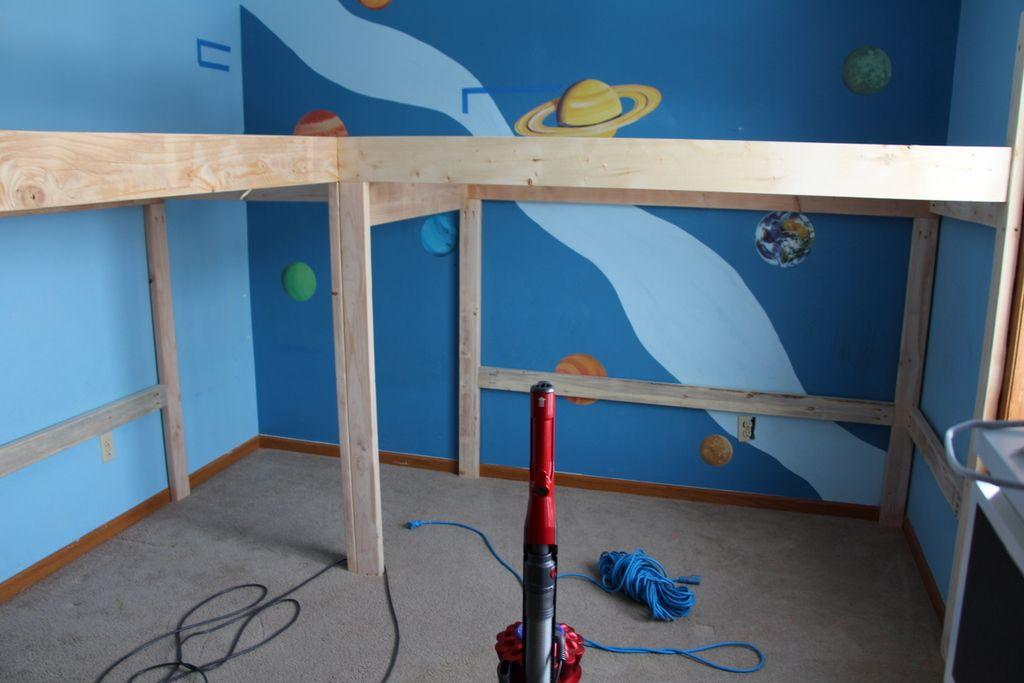 Boys Room Makeover: DIY L-Shaped Loft Beds Part I   Loft bed plans ...