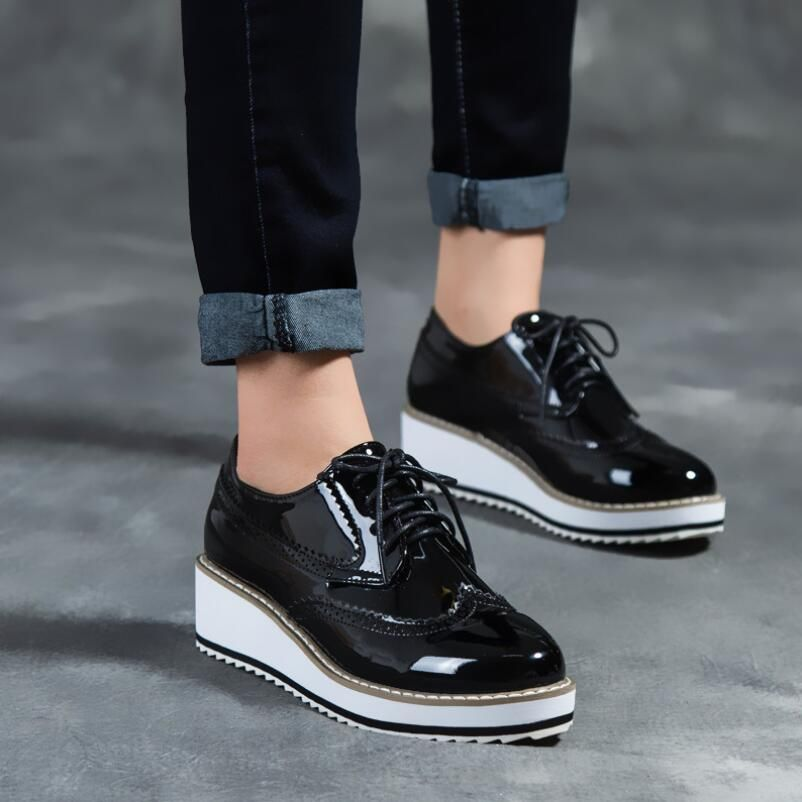 Price tracker and history of {D&H}Brand Black Bright Patent Leather  Platform Casual Shoes Woman Point-Toe Lace-Up Oxford Shoes New Withe Soles  Bullock Shoes
