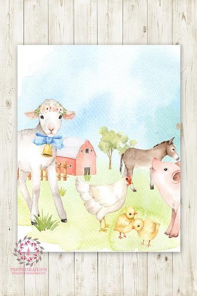 Sheep Boho Lamb Pig Wall Art Print Farm Animal Zoo Floral ...