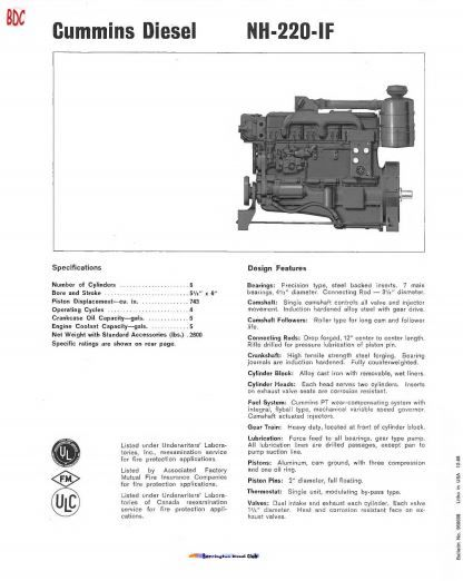 Cummins Nh220 Spec Sheet Cummins Cummins Diesel Diesel