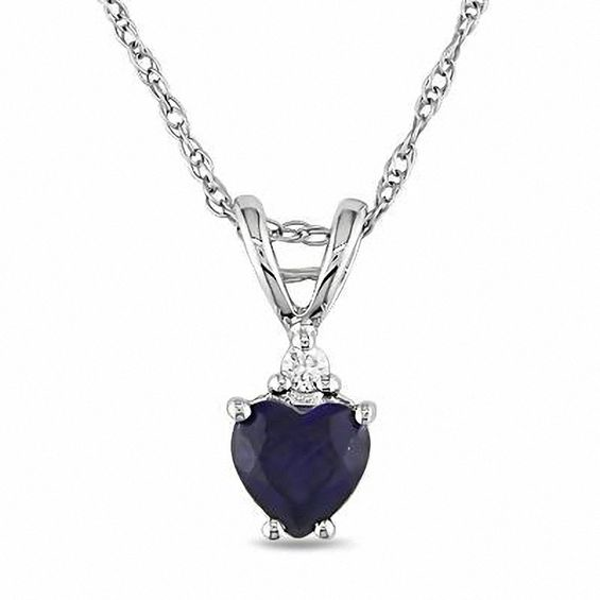 6d1fe63f0d00f Heart-Shaped Lab-Created Blue Sapphire and Diamond Accent Pendant in ...