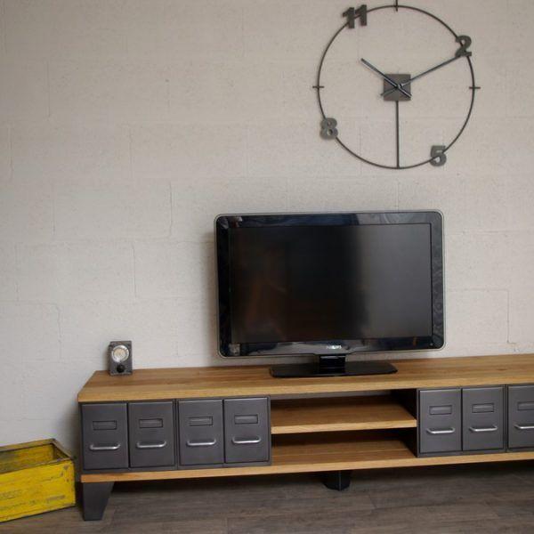 meuble-tv-style-industriel-à-tiroirs | deco meubles | Pinterest