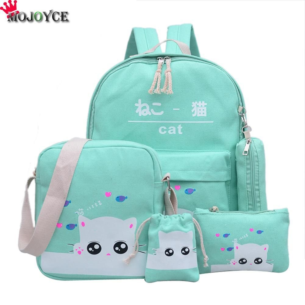 bc15b7457da2 Women Backpack Cat Printing Canvas School Bags For Teenager Girls Preppy  Style 4 Set PC Rucksack Cute Book Bag Mochila Feminina