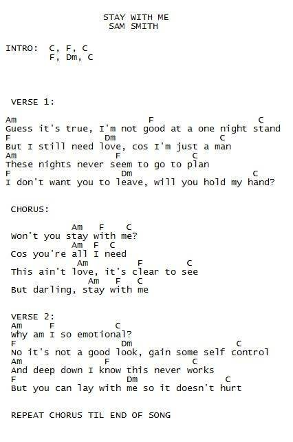 Stay With Me Sam Smith Ukulele Chords Ukulele Pinterest