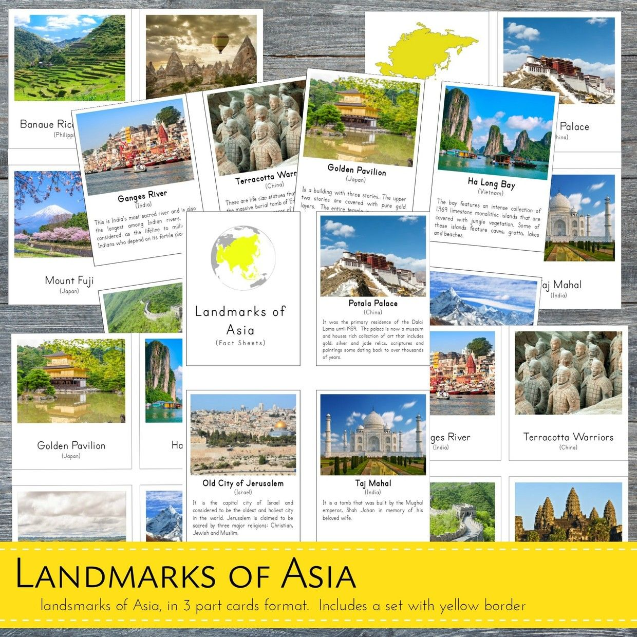 Montessori Landmarks Of Asia 3 Part Cards And Fact Car