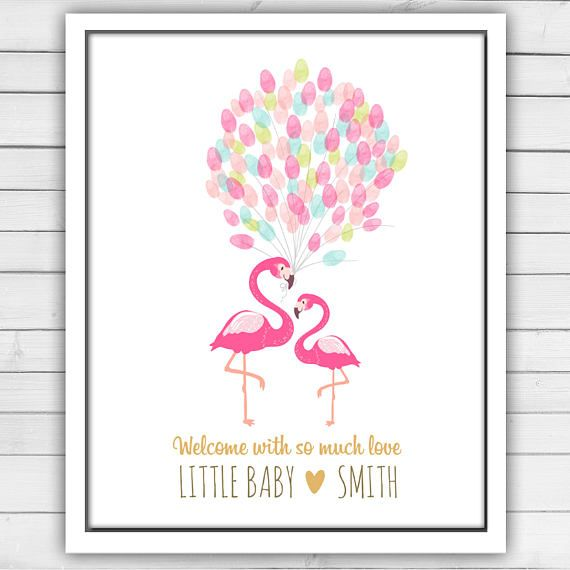 flamingo baby shower thumbprint guestbook baby shower flamingo
