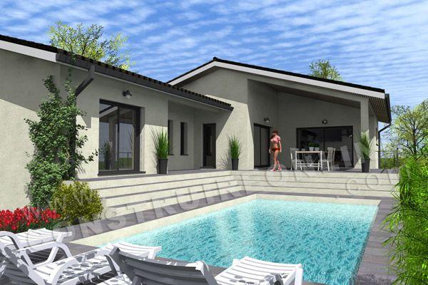 Plan de maisons sur sous sol complet de type 5 2 chambres for Modele maison avec sous sol complet