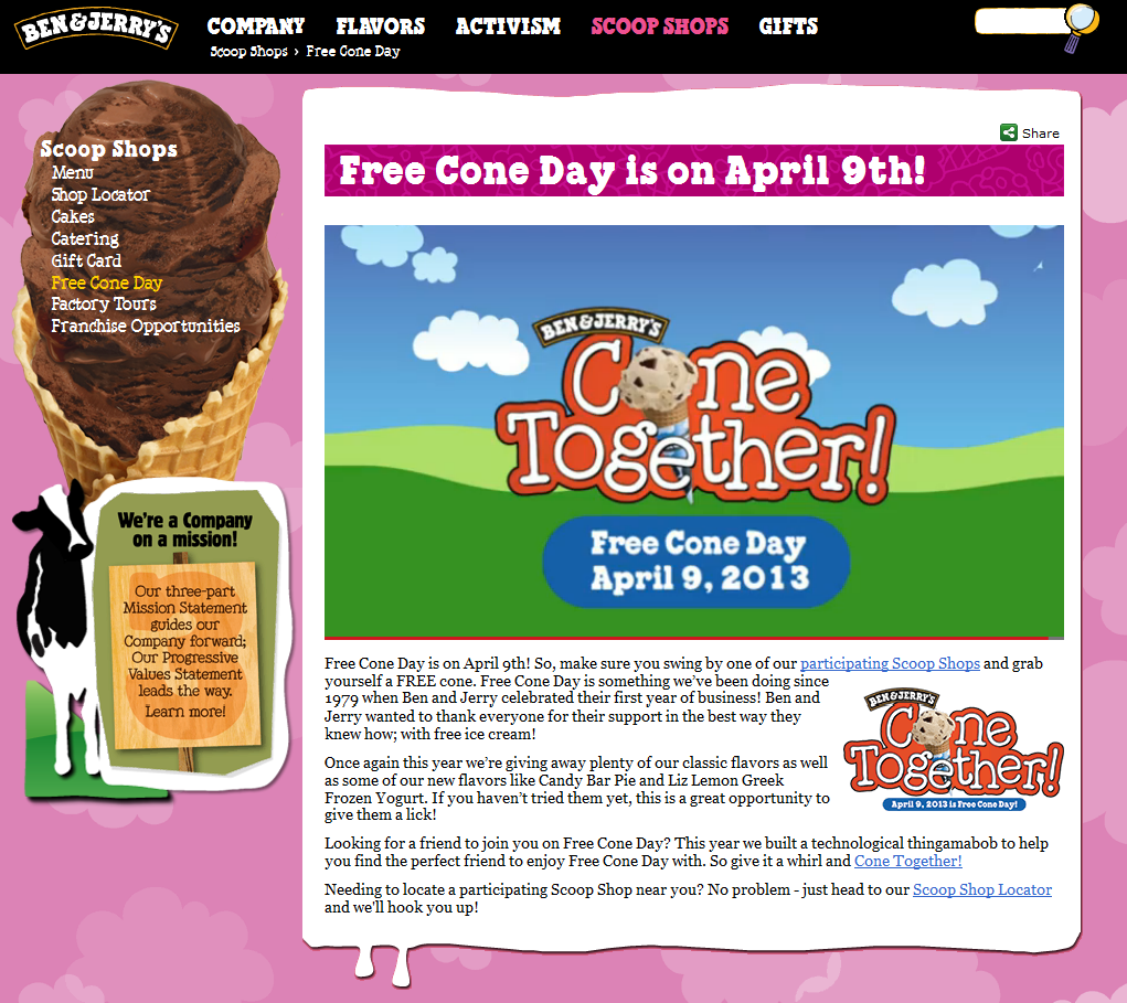 Mark your calendar for a free ice cream cone the 9th at