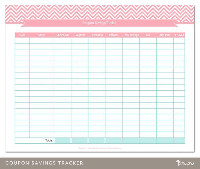 Printable Coupon Savings Tracker Printable Savings Tracker Coupon Savings Coupons