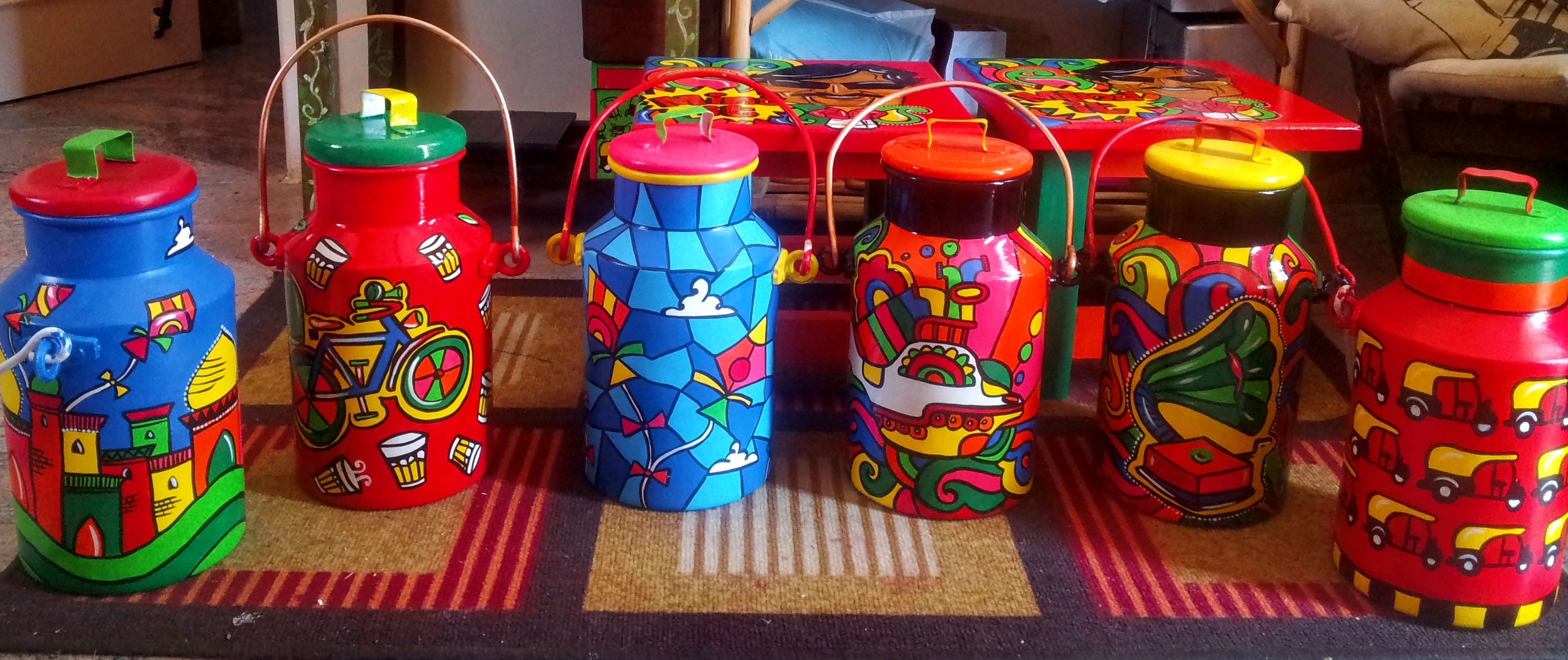 Quirky & Colourful Milk Cans... Remember the good'ol days when we used these? :) We just pepped them up to add a little colour to your living room / kitchen.. To order - Just mail us - kiliart.design@gmail.com & we will have them sent to you