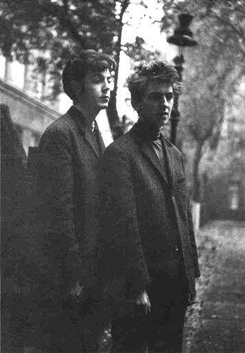 1960, October, Paul McCartney and George Harrison in Hamburg, Germany. Photo by Astrid Kirchherr.