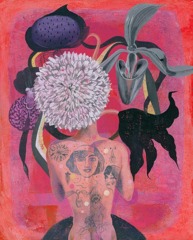 Olaf Hajek,  Tattooed Flowerhead,  2007,  acrylic on board,  15.75 x 19.75 inches