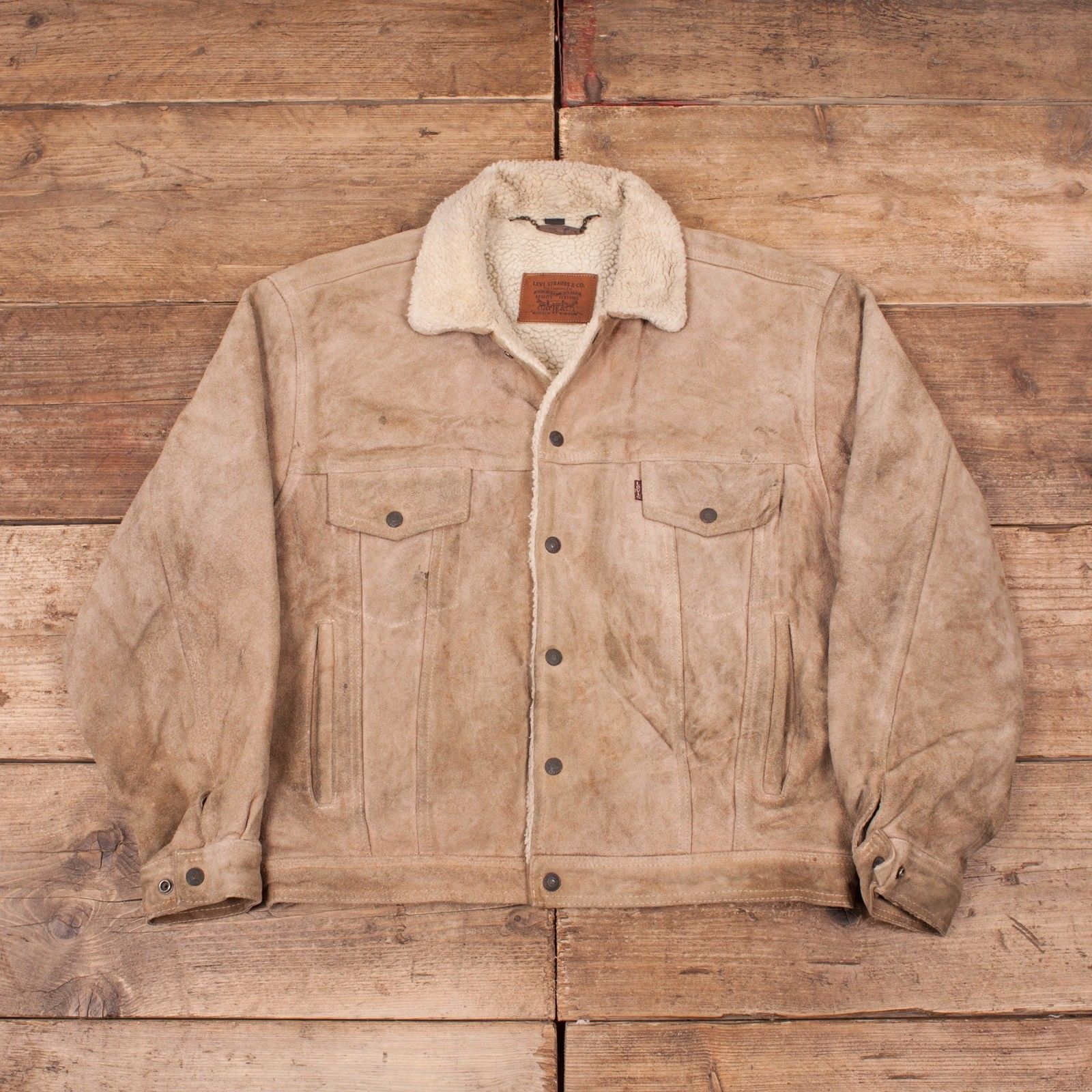 Mens Vintage Levis Suede Leather Fur Lined Sherpa Trucker