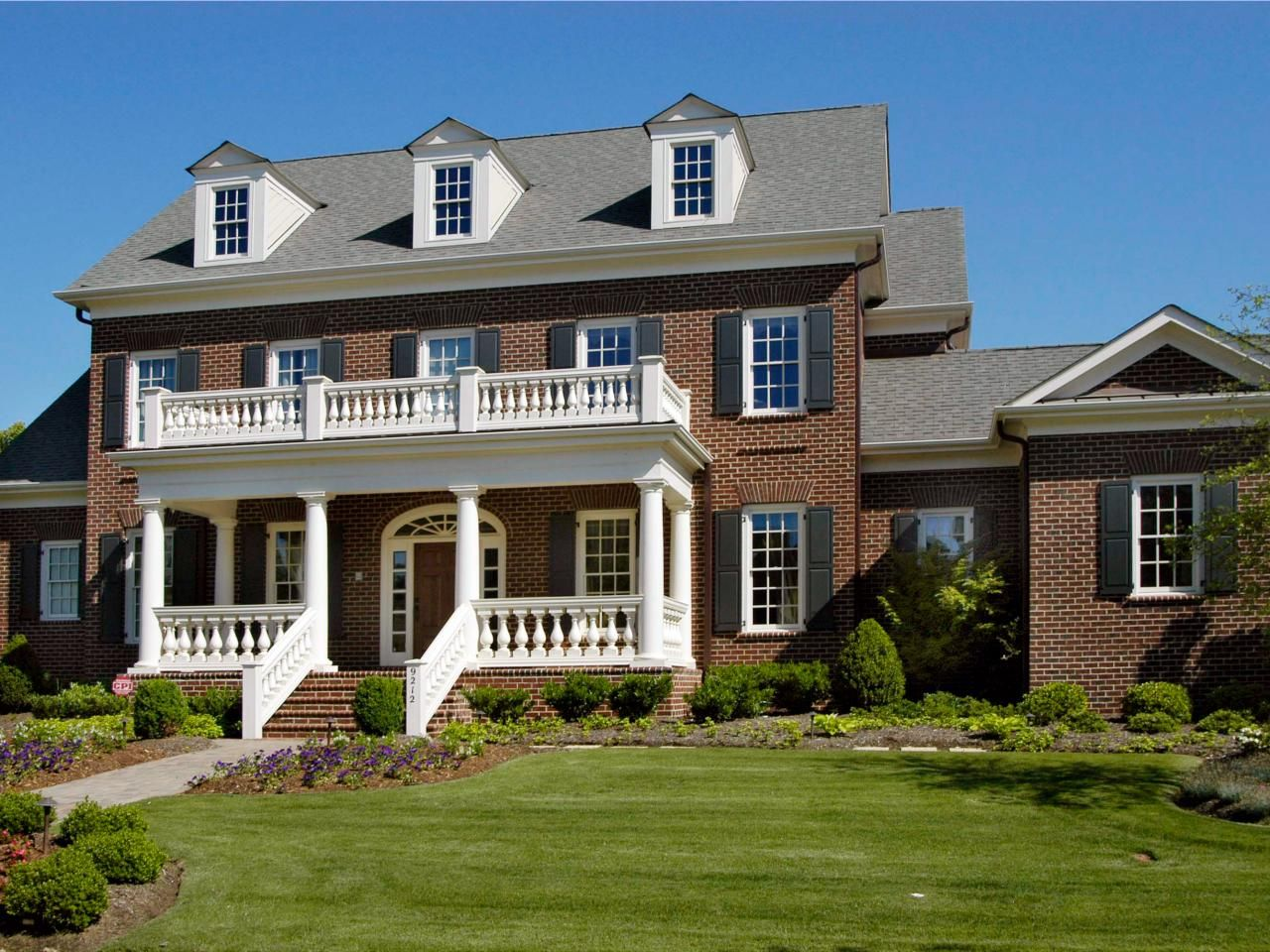 Colonial Brick House With Black Shutters House With Balcony Dream House Exterior Building Plans House