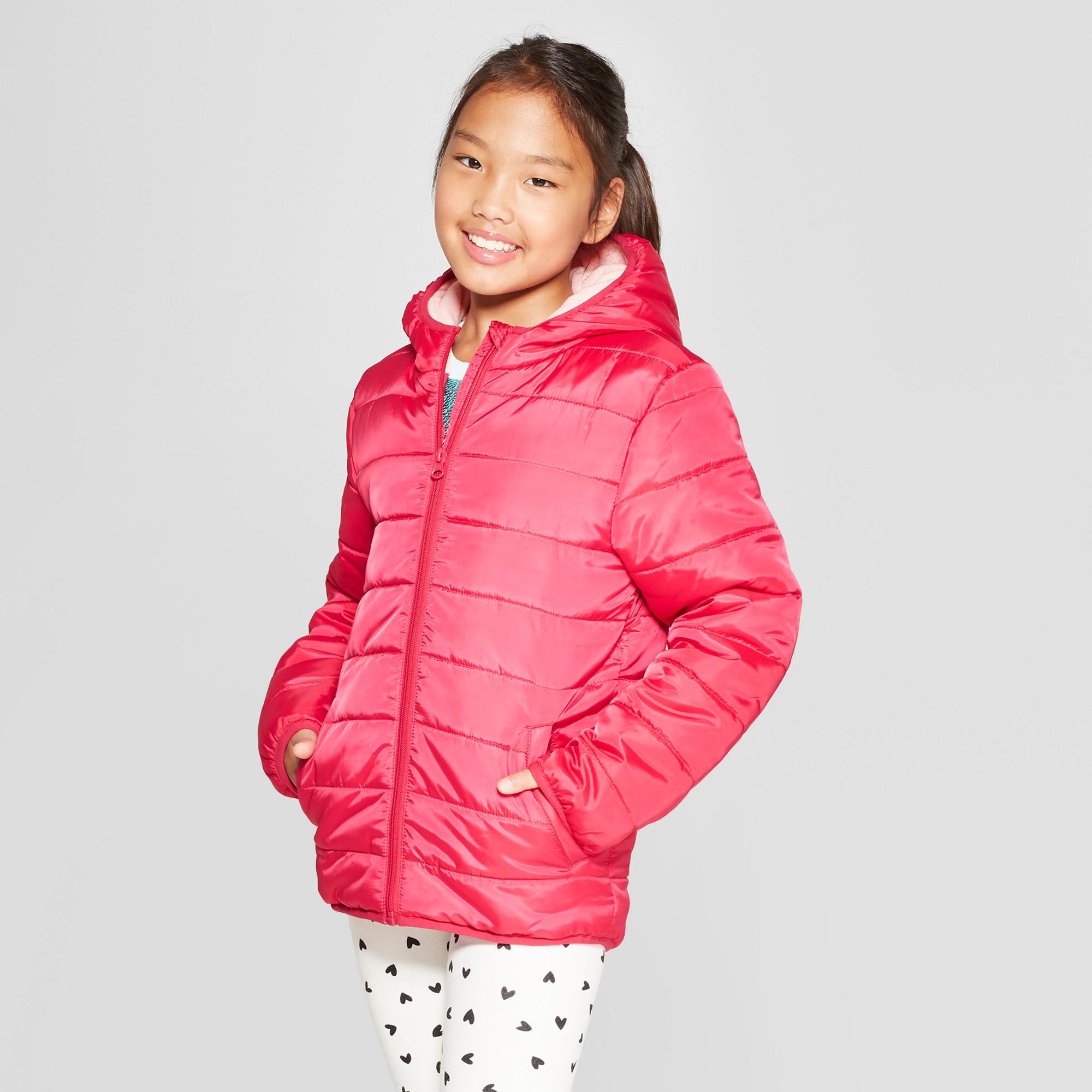 Girls' Puffer Jacket Cat & Jack Red XS, Girl's | Girls